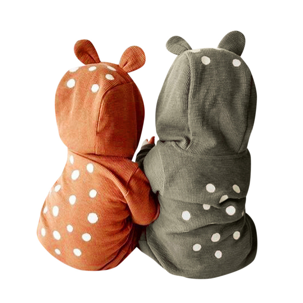 Newborn Infant Baby Boy Girl Deer Hooded Romper Jumpsuit Clothes Outfits Long Sleeve Baby Rompers Thick Warm Winter 3pcs set newborn infant baby boy girl clothes 2017 summer short sleeve leopard floral romper bodysuit headband shoes outfits