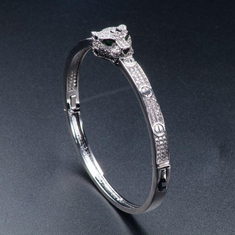 Bras européens et américains Zircon incrusté mode vivante grande marque bijoux léopard tête Bracelet dame Joker étoile avec Style chaud