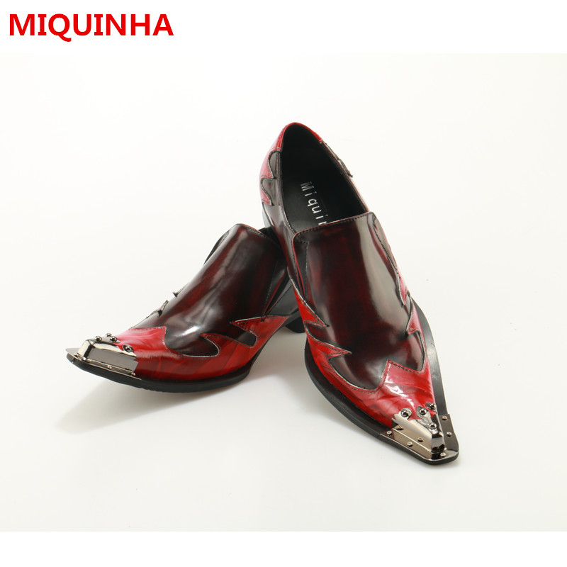 Top Quality 2017 Spring Autumn Shoes Man Pointed Metal Toe Shallow Slip On Design Men Shoes Dress Business Shoes Leather Flats luxury fashion men crystal flats metal pointed toe huarache slip on wedding shoes man 36 46 chaussure homme sapato masculino