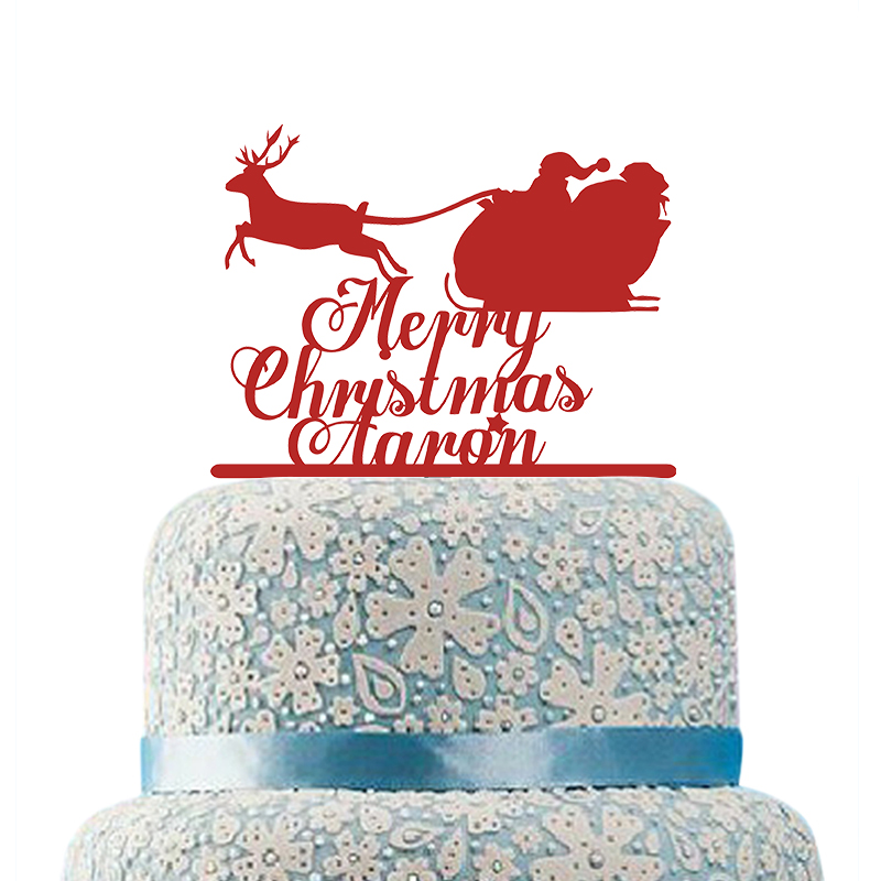 Merry Christmas Cake Topper Personalized Family Name Cake ...