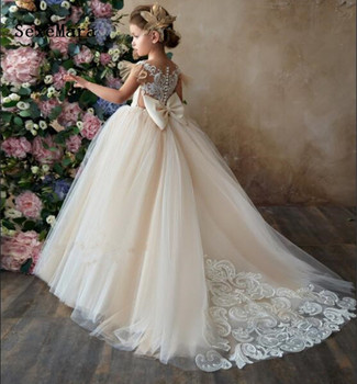 new princess champagne and ivory lace flower girl dresses for wedding girls birthday dress first communion gown with bow