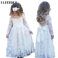Kids Girls Lace Princess Long Dress Flower Girl Dress For Wedding And Party Baby Christmas Gift