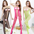 Women's Sexy Mesh Sleepwear Tight-fitting Bodystockings Open Crotch Jumpsuit