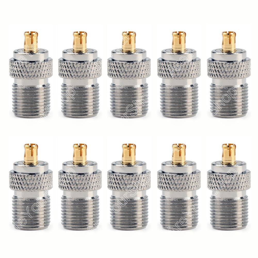 Areyourshop Sale 10Pcs Adapter 75 Ohm F TV Female Jack To MCX Male Plug RF Connector Straight Wire C areyourshop hot sale 10pcs adapter n jack female to sma male plug rf connector straight ptfe nickel plating gold plating