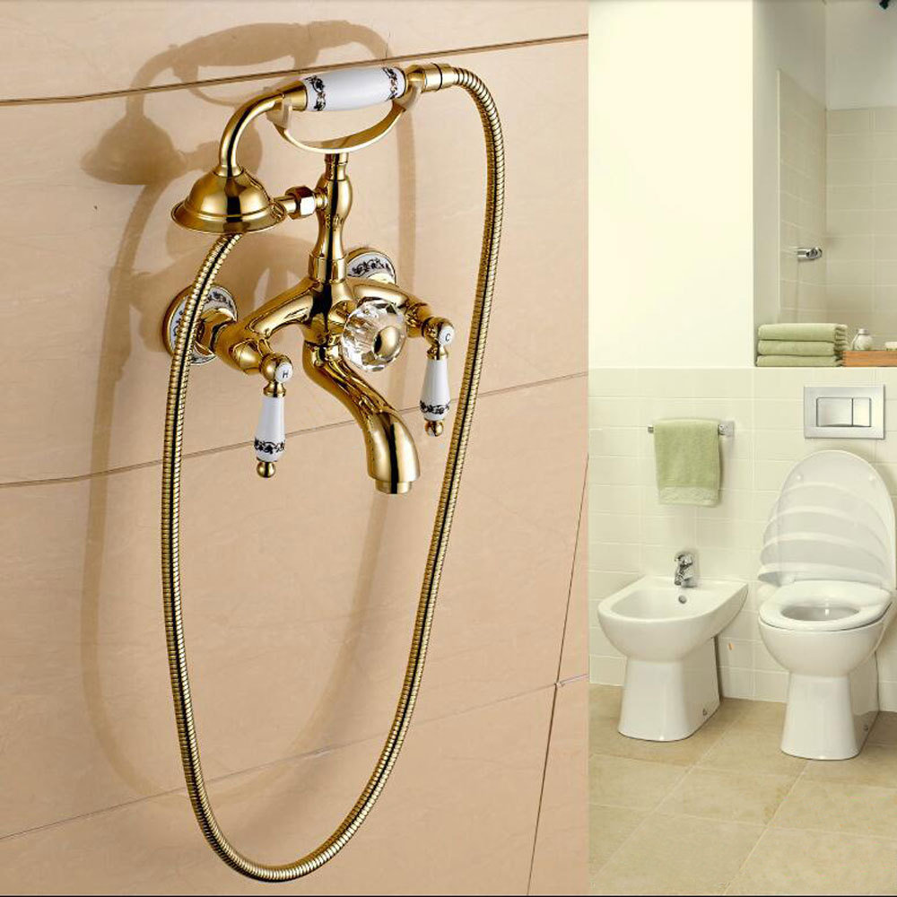 Fashion gold plated shower set copper faucet blue and white porcelain shower telephone shape SF1030