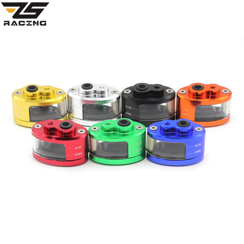 ZS Racing 7 colors Motorcycle Brake Fluid Reservoir Clutch Tank Cylinder Master Oil Cup Oval translucent oil cups 127 GSXR 1300 motorcycle parts 7 8 22mm racing cnc adjustable green front brake clutch short levers master cylinder fluid reservoir set