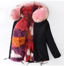 Real Fox Fur Lining Green Parka with Big Raccoon Fur Hood Winter Coat for Women with Natural Fur Trim