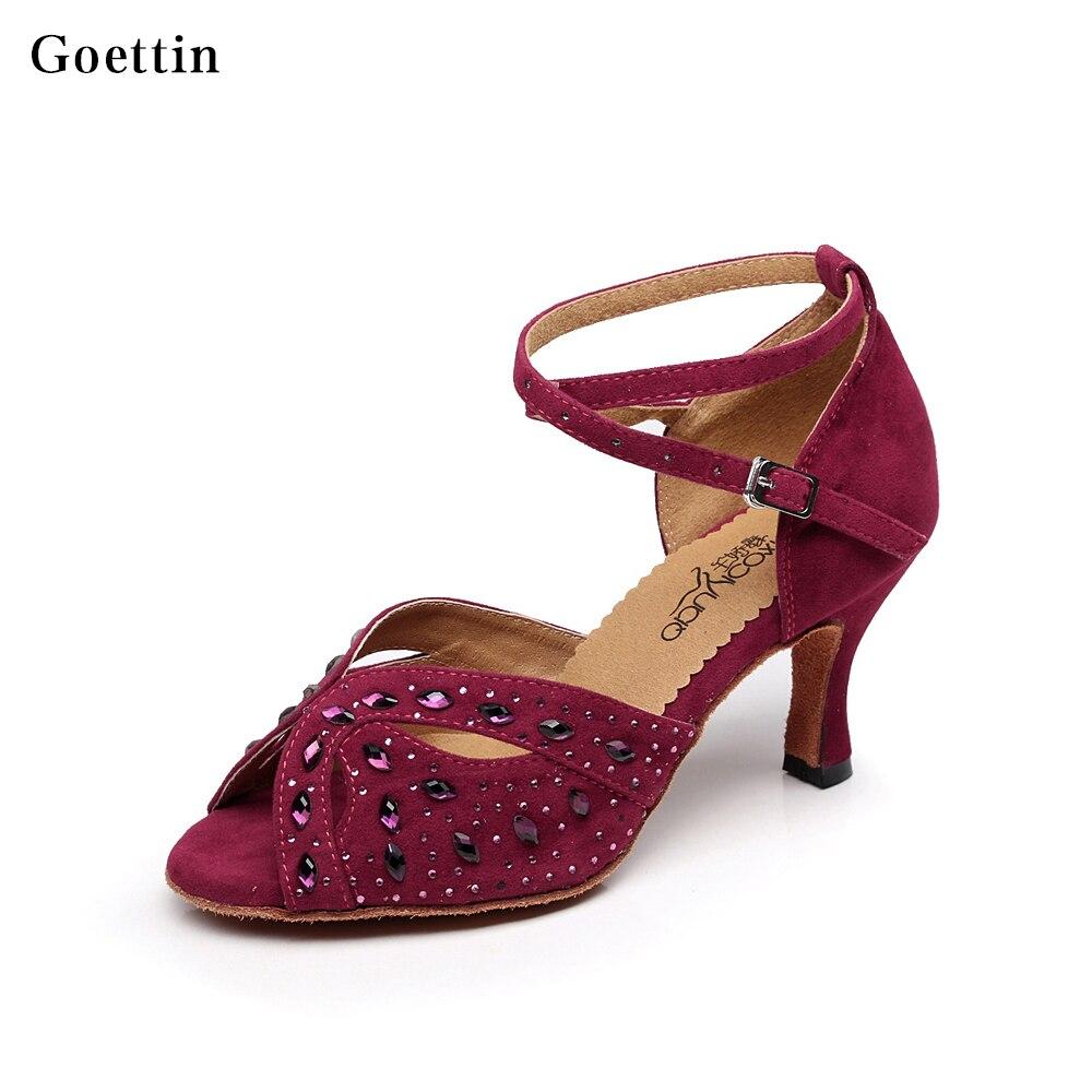 Nieuwe dames Latin schoenen strass ballroom dansschoenen