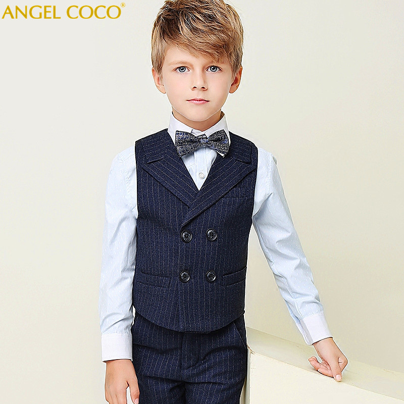 4 pieces Navy Blue Vertical Lapel Vest Double-breasted Boys Suits For Weddings Costume Garcon Vestiti Bambina Cerimonia