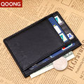 Qoong moda hombres mujeres del cuero genuino femenino ultrafino monedero money holder clip tarjeta de crédito monedero del diseño corto ml1-012