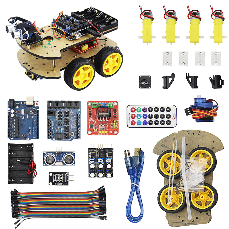 Robot Car Kit Chassis suit Tracking Vehicle Obstacle Avoidance Car for UNO R3 RC for Electronic Robot Car DIY Smart Car