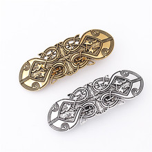 Women Bohemian Ancient Pattern Geometric Hair Barrettes Vintage Metal Clips Simple Holder Antique Gold Silver
