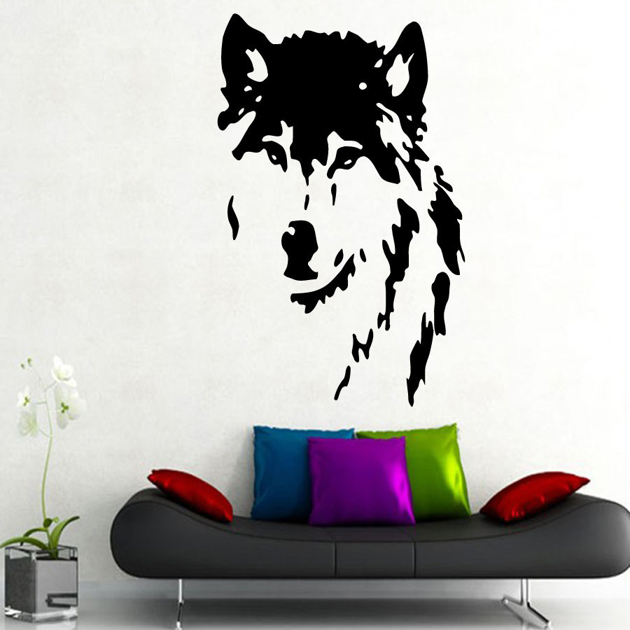 Qt024 wolf wall decals home decor removable vinyl wall art stickers pet shop decor animal mural home decoration accessorie in wall stickers from home
