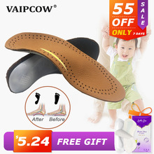 Leather Kids Orthopedic Insoles for Children Shoes Flat Foot