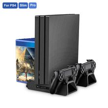 For PS4/PS4 Slim/PS4 PRO Console Cooler Dual Controller Charger for SONY Playstation 4 Vertical Stand with Cooling Fan