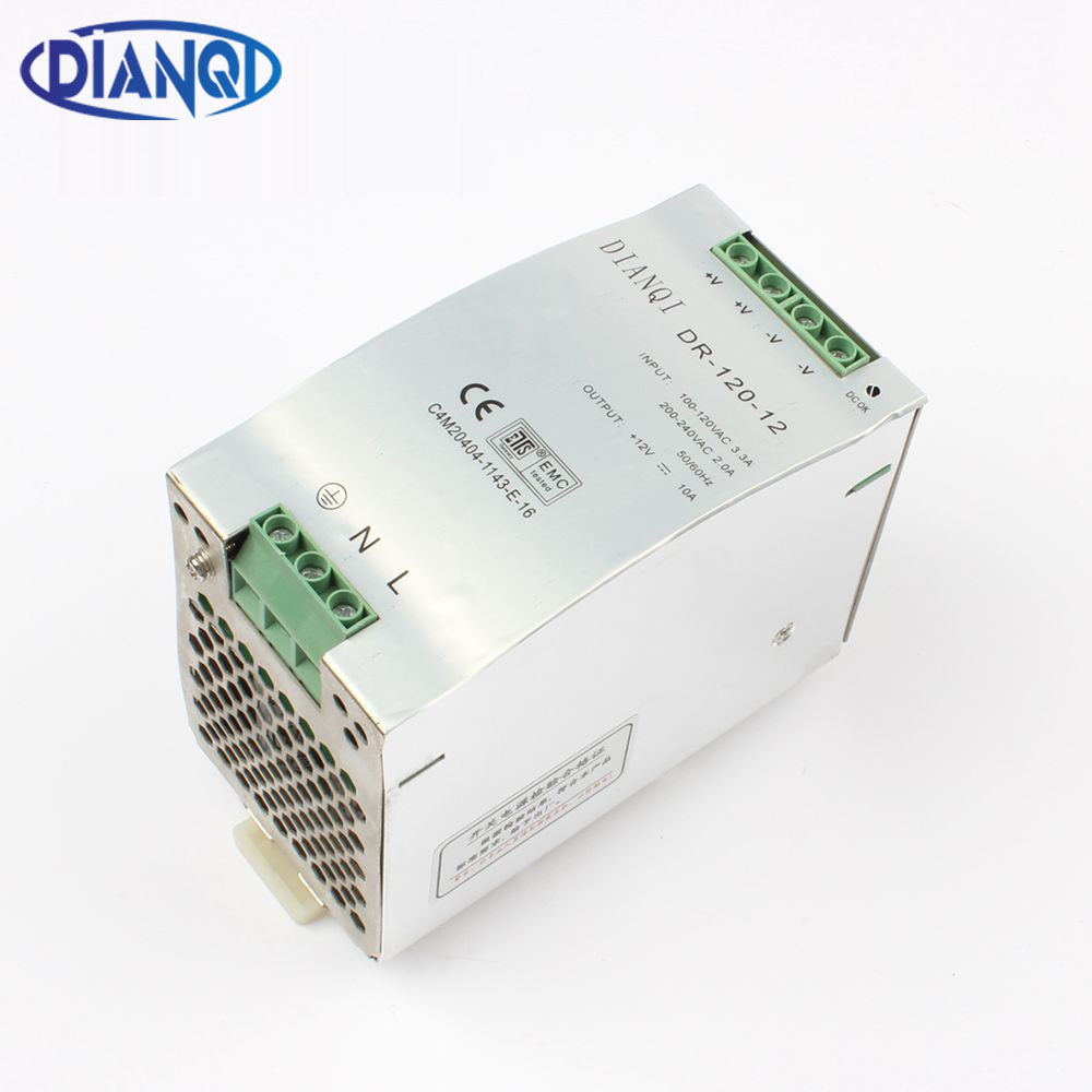 купить DIANQI Din rail power supply 120w 12V 24V 48V power suply 120w power supply ac dc converter dr-120-12 dr-120-24 dr-120-48 недорого