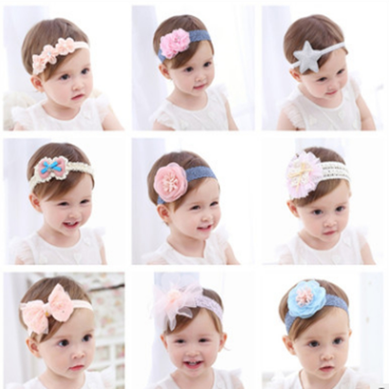 2018 korean hairband Newborn children Hair Accessories Lovely photographed photos Girl Lace Flower Hair Band Headband   headwear