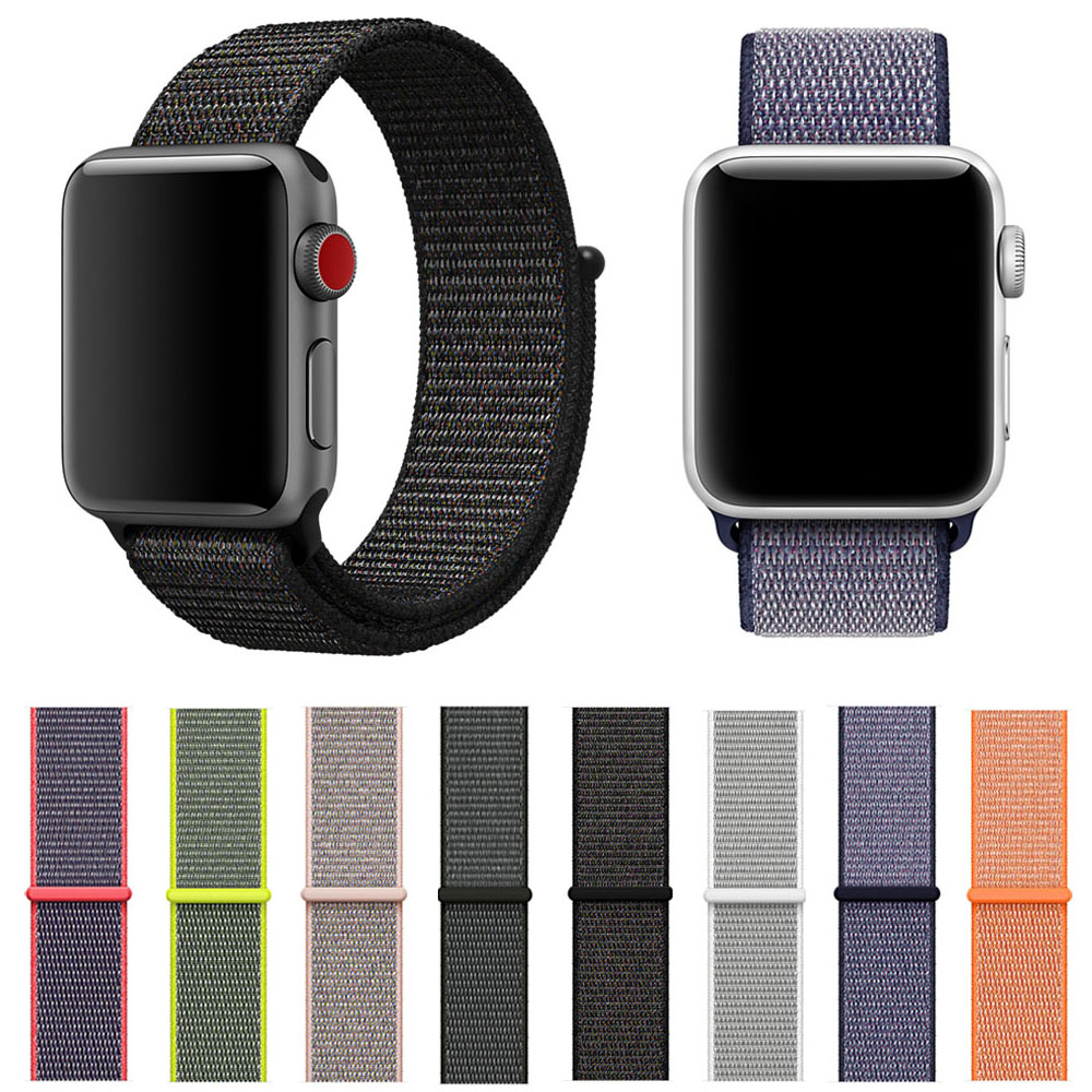 Sport Loop Band for Apple Watch Series 3 2 1 Strap for iWatch Double-layer Woven Nylon Breathable Watchbands 42mm 38mm