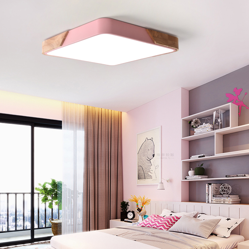 Modern LED ceiling light Macarons colorful indoor lamp wood Iron Acrylic kitchen bedroom foyer shop decoration lighting fixture