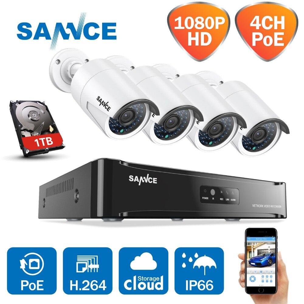 SANNCE 4CH 1080 P red POE NVR Kit CCTV sistema de seguridad MP cámara IP exterior IR sistema de cámara de vigilancia nocturna 1 TB HDD