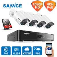 SANNCE 4CH 1080P Network POE NVR Kit CCTV Security System 2.0MP IP Camera Outdoor IR Night Surveillance Camera System 1TB HDD