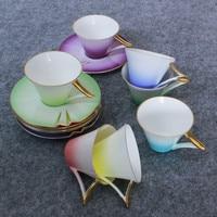 1set Creative ceramic cups Coffee Cup And Saucer High Bone China Ceramic Rainbow Coffee Cups Tea Set coffee cup sets 5ZDZ107