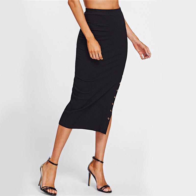 Elegant Black Studs High Slit Pencil Skirt