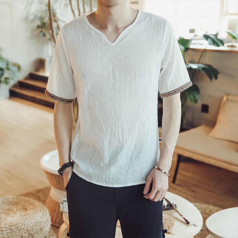 新メンズ半袖シャツ呼吸クールハワイ中国風の夏リネンブランドシャツルーズシャツ高品質の服