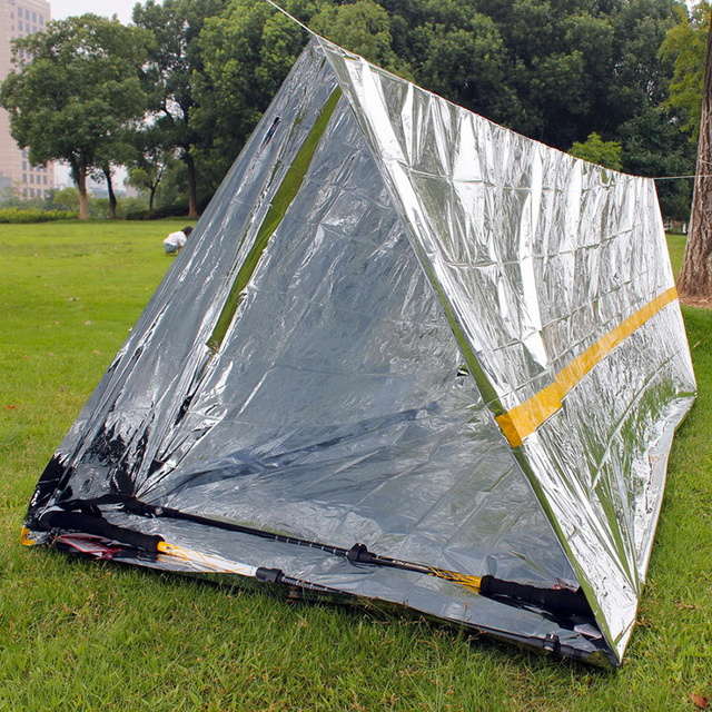 Lightweight Emergency Shelter Tent 1-2 Person Mylar Thermal Shelter Waterproof Tube Tent Reflective Conserves Heat Survival Gear