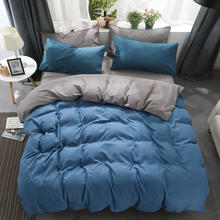 Modem simple bedding set 5 size grey blue  bed linen 4pcs/set duvet cover king comforter AB side 2019