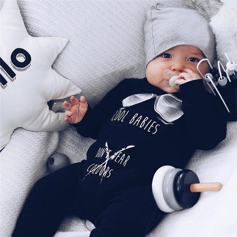 цена на Winter Babys Clothes Newborn Infant Baby Boys Girls Letter Printed Long Sleeve Jumpsuit Romper Clothes Baby Boy Romper JY10#F