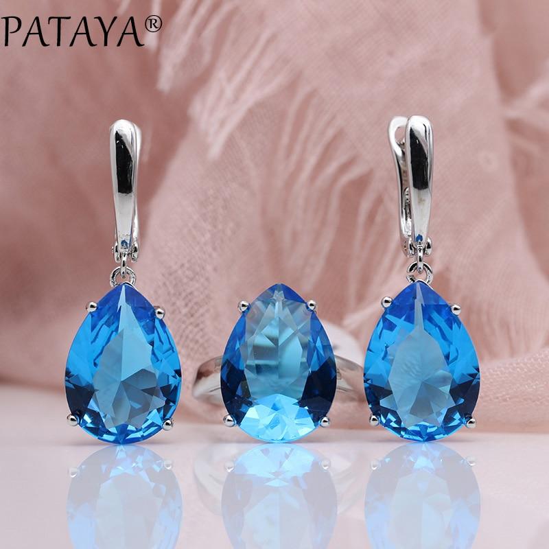 PATAYA New Jewelry Set True White Gold Water Drop Natural Zircon Blue Earrings Rings Sets Women Fashion Wedding Party Noble Set
