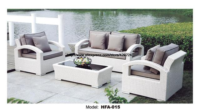 White Rattan Sofa Purple Cushions Garden Outdoor Patio ...