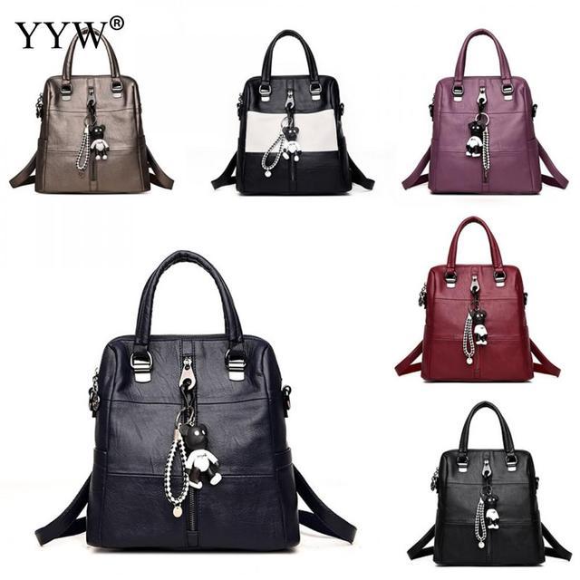 Hot Sales Leather Backpack Women School Bag For Teenage Girl Brand Ladies  Multifunctional Bag Guaranteed Backpacks 800c43cc3e33a