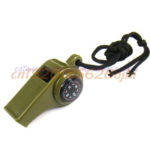 Gear Whistle Compass Thermometer Outdoor Camping Hiking Emergency Survival #H030#