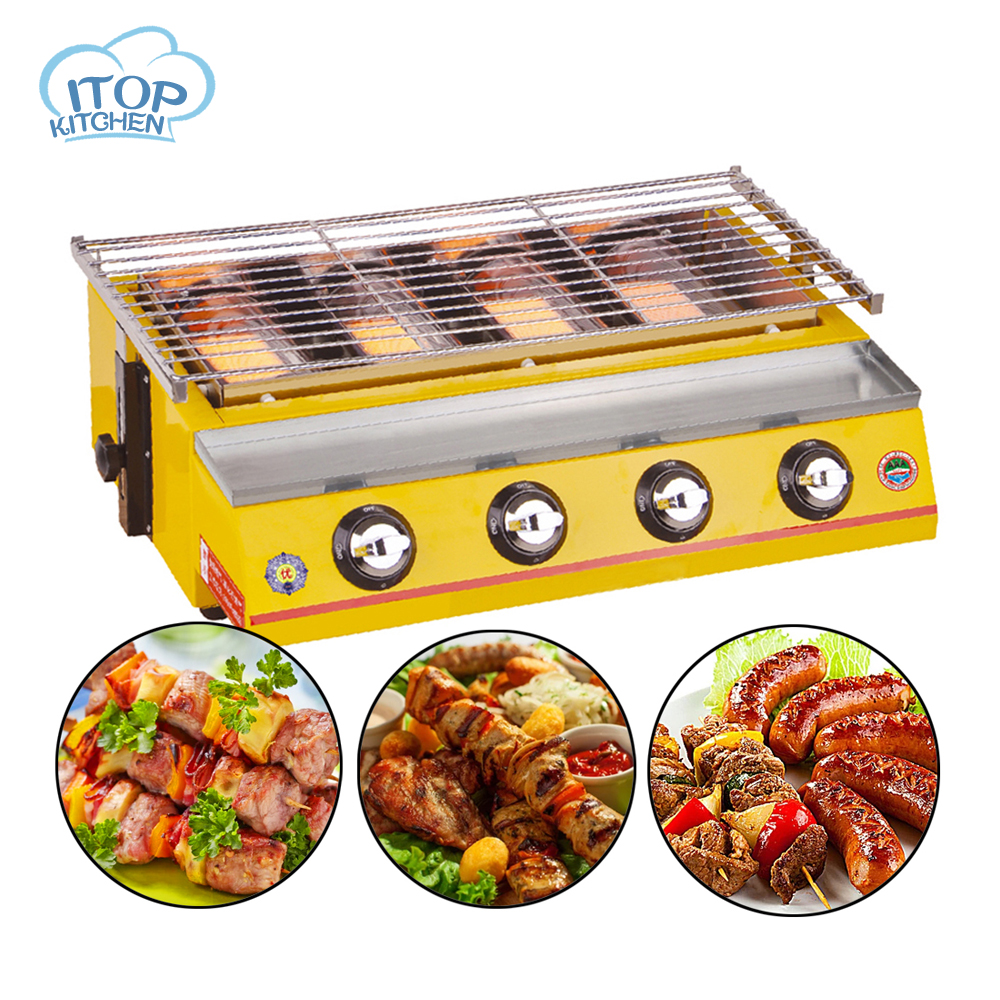 4 Burners Gas BBQ Grill Smokeless Stove Commercial Fast Delivery Adjustable Height Portable