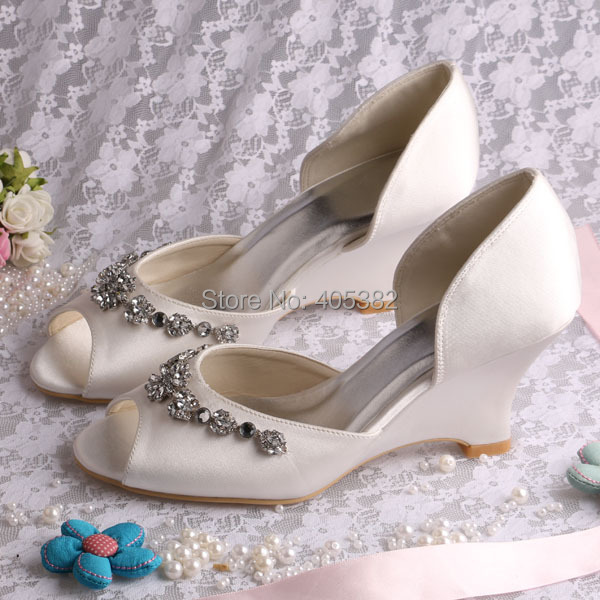 More ColorsNew Arrival White Ivory Wedge Heel Bridal Wedding Shoes Sandals Peep Toe In Women