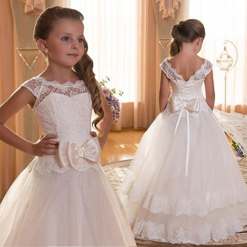 New 2019   Flower     Girl     Dresses   For Weddings Ball Gown Cap Sleeves Tulle Lace Bow Long First Communion   Dresses   For Little   Girls