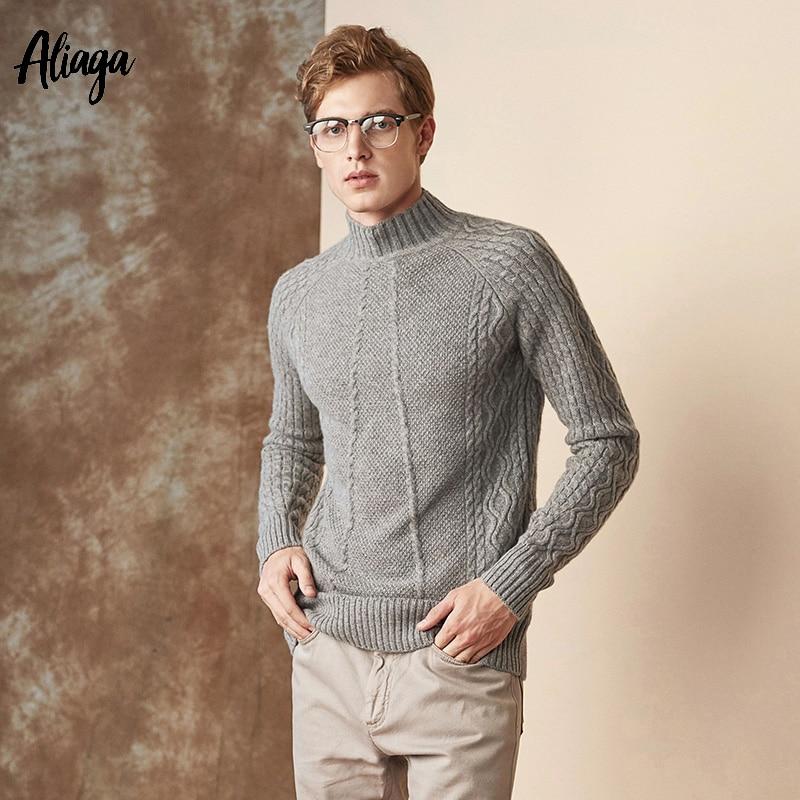 100% chèvre cachemire homme pull 2019 câble tricoté chandails hommes col roulé pull chaud tricot épais grande taille hiver pull