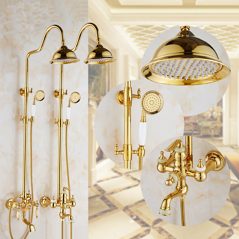 2 Style Bathroom gold plated jade rain shower faucet mixer water tap, Brass diamond shower fauxet shower sets wall mounted sognare new wall mounted bathroom bath shower faucet with handheld shower head chrome finish shower faucet set mixer tap d5205
