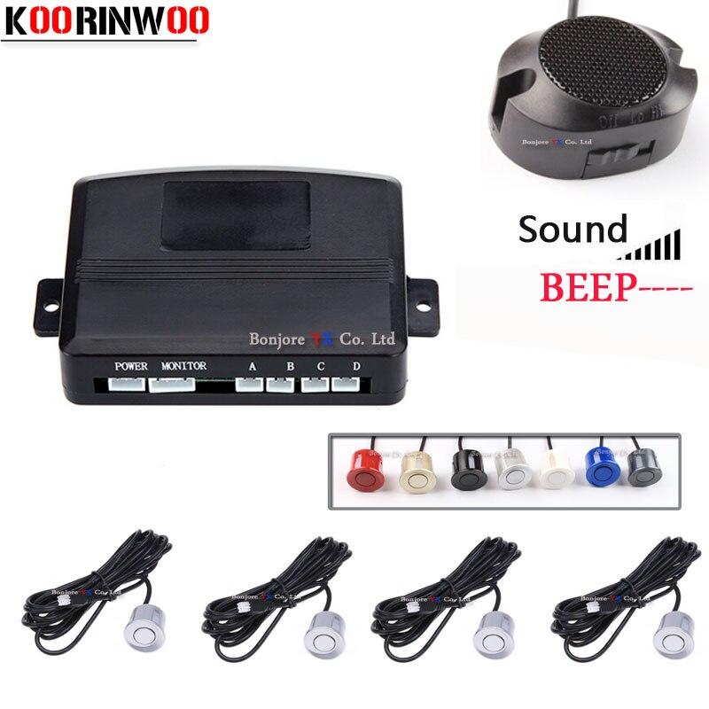 Регулируемый динамик Koorinwoo, датчик парковки для автомобиля, 4 задних радара, предупреждающий индикатор, слепой зонд, Парктроник, автомобильн...