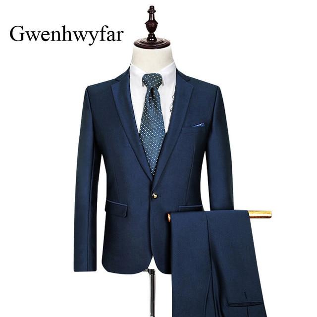 4c36d608a9f7 Costumes Hommes 2018 Marque De Luxe Bleu Marine Mens Blazer Avec pantalon  Slim Fit Costumes D