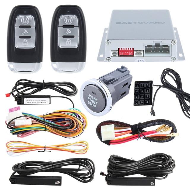 Kit de alarme de entrada de keyless passiva para auto, parada de partida do motor remoto e pressione o botão start stop, toque de entrada de senha