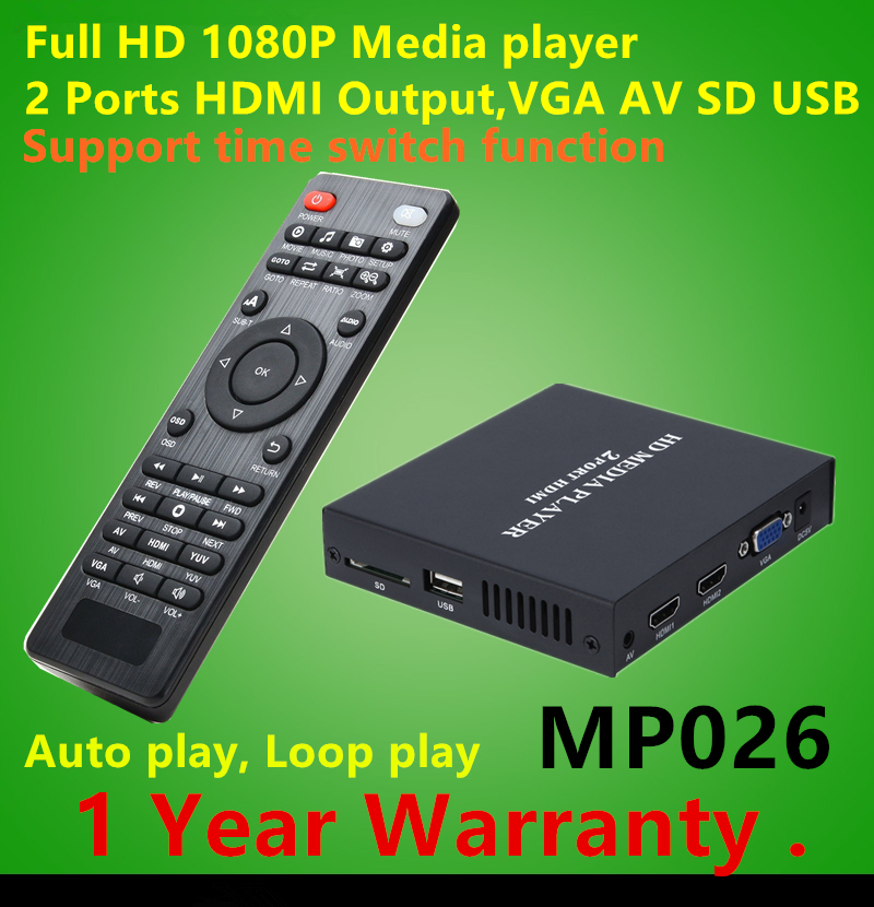 Full HD 1080P HDD Media Player Supports 2Ports HDMI+VGA+CVBS output,SD/MMC/USB Host AVI DivX MKV DVD MP3 Player цена
