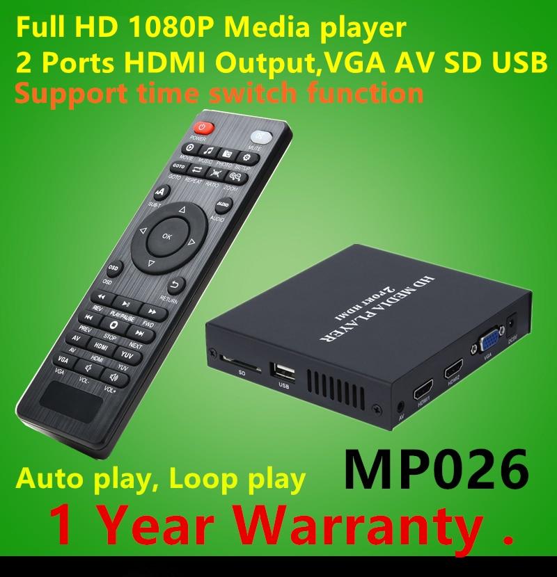 Full HD 1080P HDD Media Player Supports 2Ports HDMI+VGA+CVBS output,SD/MMC/USB Host AVI DivX MKV DVD MP3 Player