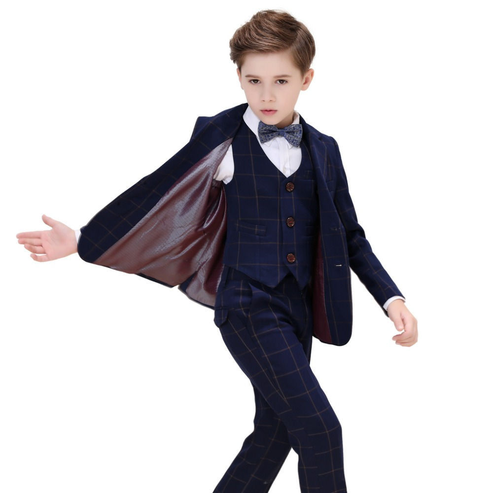 5 Piece Boys Blue Plaid Suits Slim Fit Ring Bearer Blue Suit For Boys Formal Classic Costume Weddings цена 2017