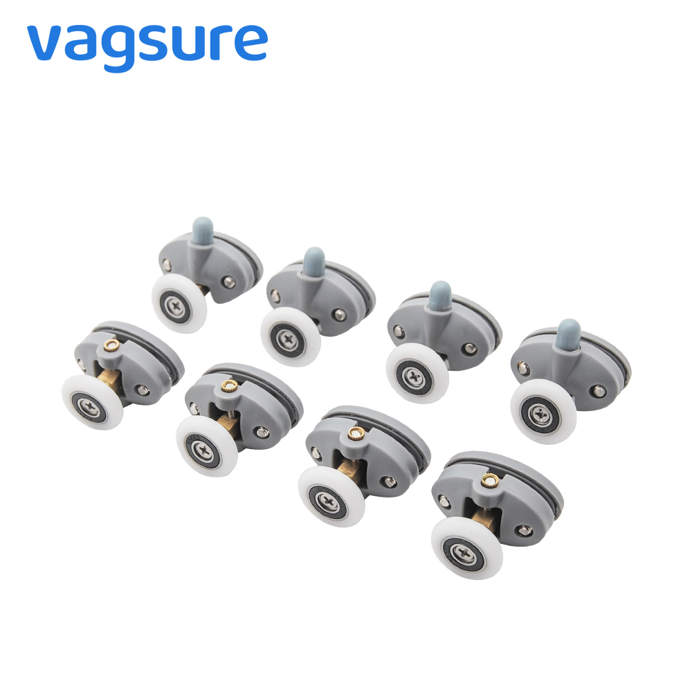 4pcs-8pcs/set Upperand Down 23mm 25mm ABS Plastic Pulleys Wheel Sliding Bearing Door Rollers For Shower Casters Cabin Bathroom