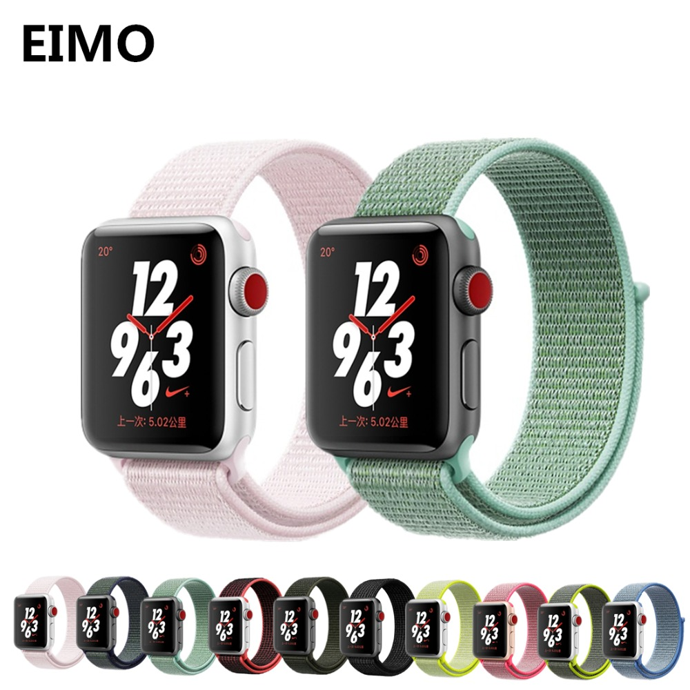 Sport Loop For Apple Watch band 42mm 38mm 44mm 40mm iwatch strap Series 4 3 2 1 woven nylon bracelet wrist watchband Accessories eimo sport loop strap correa for apple watch band 42mm 44mm 40mm 38mm iwatch series 4 3 2 1 woven nylon bracelet wrist watchband