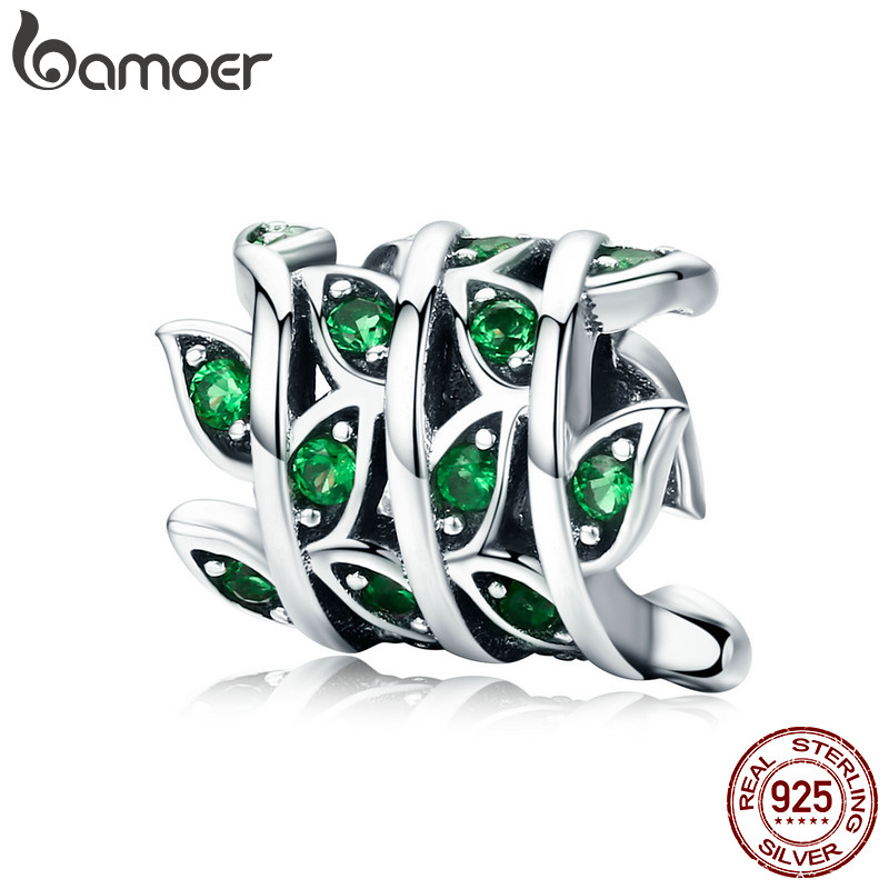 BAMOER 100% 925 Sterling Silver Tree of Life Green Tree Leaves Beads fit Women Bracelet & Necklaces DIY Jewelry Making SCC567