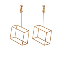 Solid geometry square hollow stud earrings in 2017 fashion s